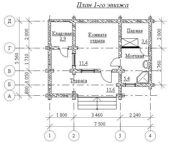 Сруб бани (1 этаж) размером 5,56х7,5