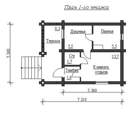 Сруб бани 5,36х5,36 с террасой, тамбуром, комнатой отдыха, туалетом, душевой и парной