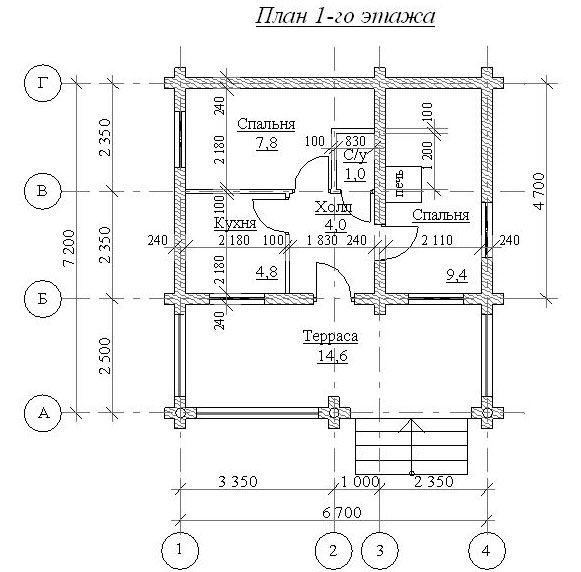 Сруб бани (1 этаж) 7,2х6,7 с таррасой