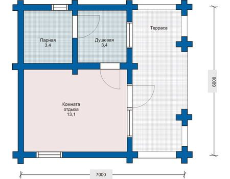 Проект на примере сруба 6х7: душевая, парная, просторная комната отдыха, веранда