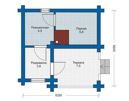 Проект сруба бани 5,25 х 5,25 на 3 комнаты с террасой