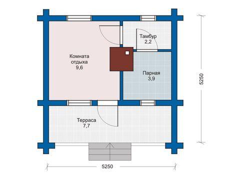 Проект сруба бани 5,25 х 5,25 с широкой террасой
