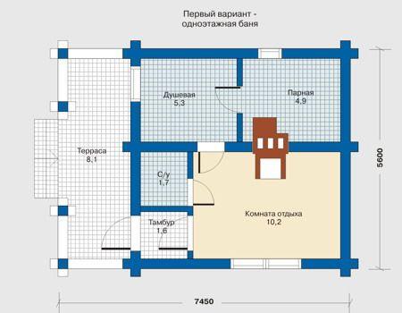 Проект бани 7,45 х 5,6 с тамбуром, туалетом, комнатой отдыха, душевой и парной