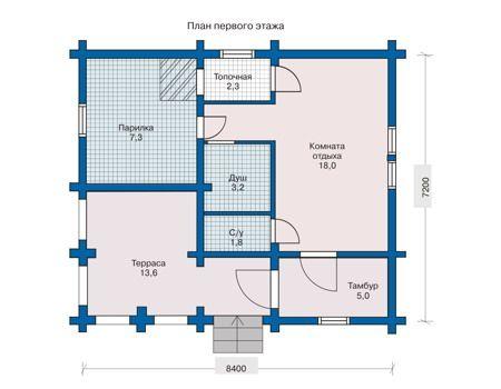 Сруб бани 7,2х8,4 с верандой и 6 комнатами