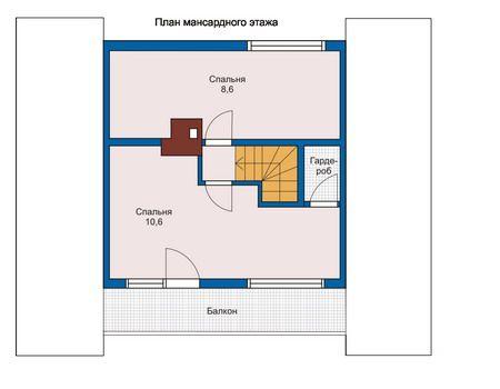План мансардного этажа для бани 7,45 х 5,6 (проект №2), данный проект предусматривает наличие балкона