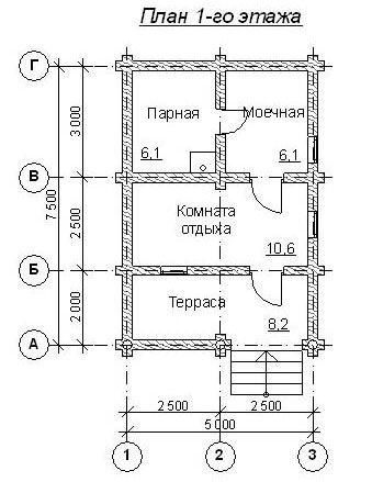 Сруб бани (1 этаж) размером 7,5х5